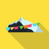Vector design of mountaineering and peak sign. Collection of mountaineering and camp stock vector illustration.