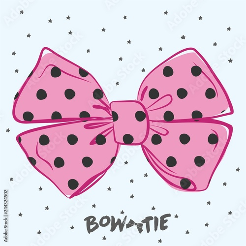 Vector perfect bow of pink fabric black dots pattern vector decoration for hair meme. Useful elements for your design - 244324502