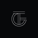 Initial letter GT TG minimal monogram art logo, white color on black background.