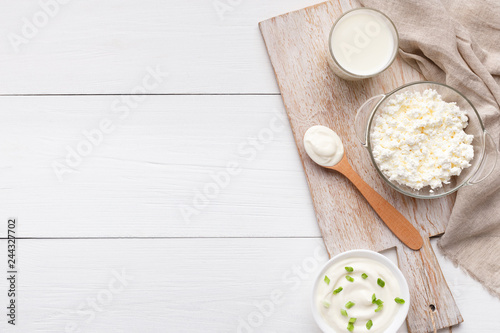 Different dairy products composition, top view, copy space