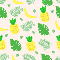 seamless pattern with fruits and leaves in Scandinavian style - vector illustration, eps