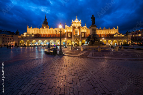 Krakow Main Square at Night in Poland