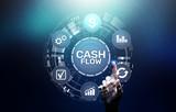 Cash flow button on virtual screen.Business Tehcnology concept. - 244332721