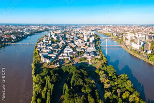 Wall mural Nantes aerial panoramic view, France