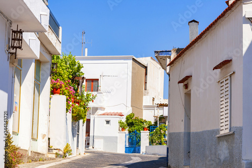 Greek streets with white houses