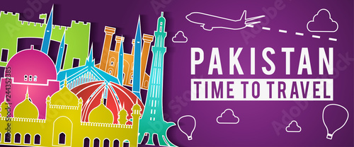 Sticker Pakistan of Japan famous landmark silhouette colorful style,plane and balloon fly around with cloud