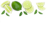 sliced lime vith leaves isolated on white background with copy space for your text. Top view. Flat lay pattern