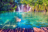 Magical beautiful, breathtaking scenic scenery with waterfalls in the national reserve in Plitvice, Croatia. Charming places.