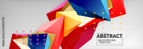 Bright colorful triangular poly 3d composition, abstract geometric background, minimal design, polygonal futuristic poster template - 244355712