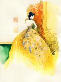 golden fantasy dress. beautiful woman. fashion illustration. watercolor painting - 244356933
