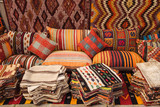 Traditional turkish textile on Egyptian bazaar in Istanbul - 244360321
