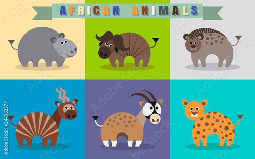 Poster Flat set of african animals. Hippo, wildebeest, hyena, cheetah, gazelle, oryx