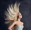 Fashion Model Long Hair, Happy Young Woman with Flying Hairstyle, Girl Hair Care and Treatment