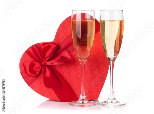 Valentines day gift and champagne glasses - 244379781
