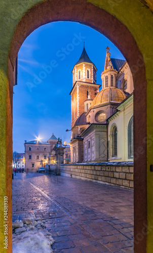 Wawel cathedral and Sigismund chapel famous for its golden roof, Krakow, Poland