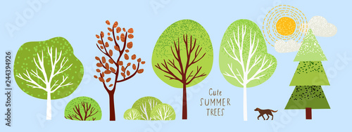 cute summer trees, vector isolated illustration of trees, leaves, fir trees, shrubs, sun, snow and clouds, elements of nature to create a landscape - 244394926