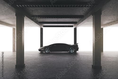 Spacious garage with car - 244396762