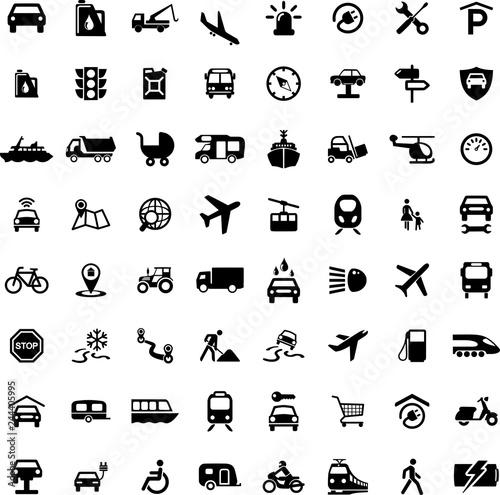 Fridge magnet Icon Set Transportation