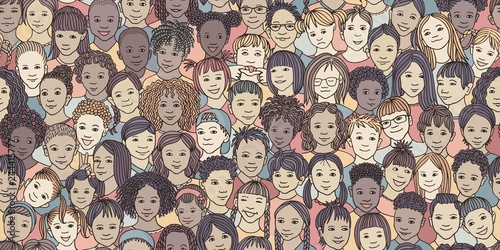 fototapeta na ścianę Diverse group of children - seamless banner of 70 different hand drawn kids' faces, kids and teens of diverse ethnicity