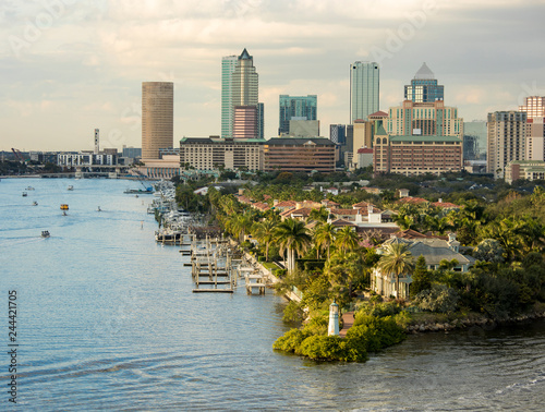 View of downtown Tampa, Florida from the harbor. - 244421705