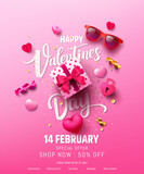Valentine's Day Sale Poster or banner with sweet gift,sweet heart and lovely items on pink background.Promotion and shopping template or background for Love and Valentine's day concept.Vector EPS10 - 244441926