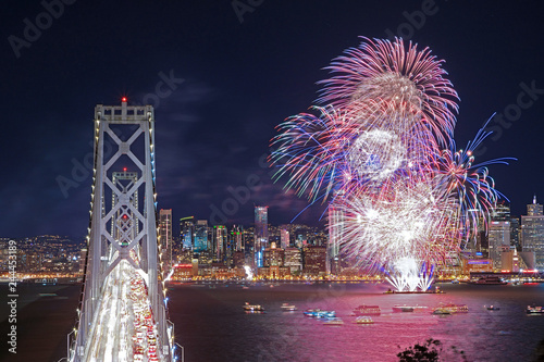 Bay Bridge with Fireworks