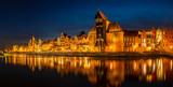view of the beautiful buildings of the historical part of Gdansk.Niight photography