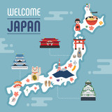A set of icons symbolizing the style of hand painting Japan. map template. flat design vector graphic style concept illustration.