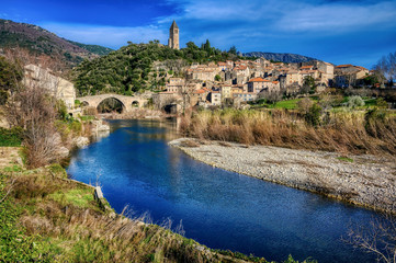 The village of Olargues in the Languedoc region of France © ImageArt