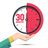 30 Thirty Minutes Clock in Hand. Vector Time Symbol Isolated on White Background