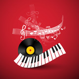 Piano Keyboard with Lp Vinyl Record and Staff on Red Background