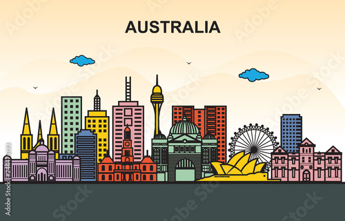 Wall mural City in Australia Cityscape Skyline Tour Illustration