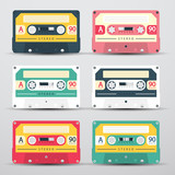 Retro Audio Cassettes Set - Vector Cassete Icons Isolated on Light Background