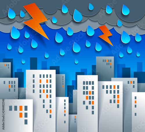 Sticker Cityscape under thunderstorm and lightning cartoon vector illustration in paper cut kids application style, high city buildings real property houses and cloudy rainy sky.