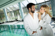 canvas print picture - Portrait of attractive couple in spa center