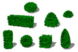 Set of different bushes. 3D low poly vector illustration. - 244484769