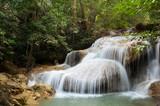 Beautiful Waterfall in the jungle, Erawan, Thailand