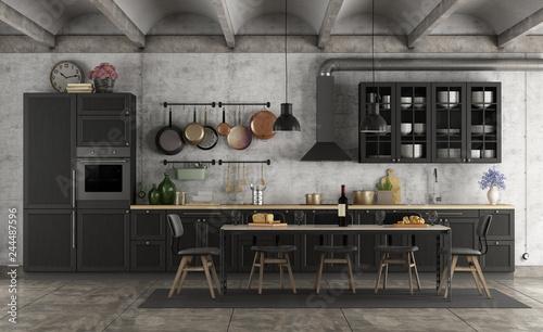 Retro black kitchen in a grunge interior