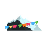 Isolated object of mountaineering and peak symbol. Set of mountaineering and camp stock symbol for web.