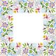 Purple ornament. Floral botanical flower. Watercolor background illustration set. Frame border ornament square.