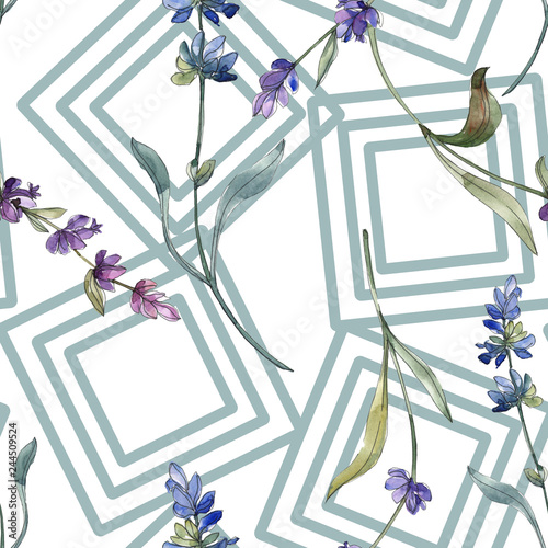 Purple lavender. Floral botanical flower. Watercolor background illustration set. Seamless background pattern. - 244509524