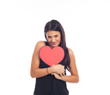 beautiful happy young woman who is holding a big red heart for valentine's day - 244513389