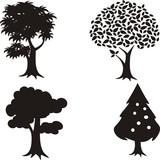 set of black tree icon vector