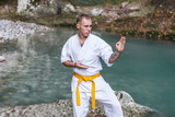 Strong athletic young guy master of martial arts in white karate suit with a yellow belt engaged in training in the fresh air surrounded by beautiful untouched nature - 244538155