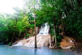 Landscape photo Saiyok Waterfall,Amazing waterfall in wonderful autumn forest, beautiful waterfall in rainforest at Kanchanaburi province, Thailand