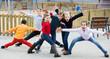 Leinwanddruck Bild - Active kids playing outdoors