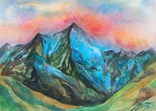 """Постер, картина, фотообои """"dipinto bello acquerello montagna cima"""""""
