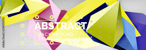 Bright colorful triangular poly 3d composition, abstract geometric background, minimal design, polygonal futuristic poster template - 244556196