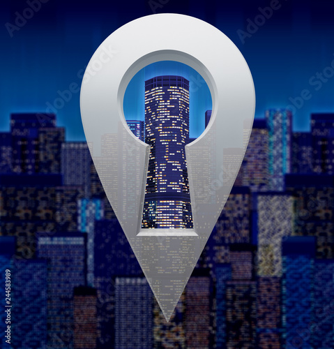Fridge magnet navigation marker with keyhole on abstract city