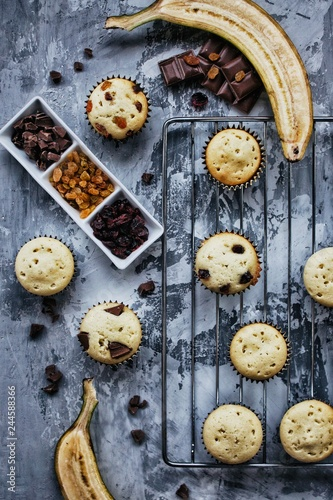 Sunday breakfast muffins with chocolate and dried